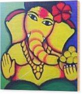 Lord Ganesh By  Sarada Tewari Acrylic Paint On Canvas 24x28inch Wood Print