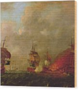 Lord Howe And The Comte Destaing Off Rhode Island Wood Print by Robert Wilkins