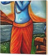 Lord Krishna- Hindu Deity Wood Print