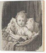 Lorenz Frolich Danish, Copenhagen 1820-1908 Hellerup, Child In A Crib Wood Print