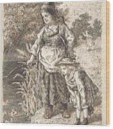 Lorenz Frolich Danish, Copenhagen 1820-1908 Hellerup, Three Little Girls In A Room Arguing And Spi Wood Print