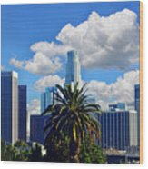 Los Angeles And Palm Trees Wood Print