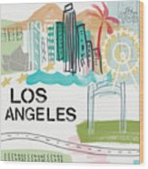 Los Angeles Cityscape- Art By Linda Woods Wood Print