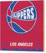 Los Angeles Clippers Vintage Basketball Art Wood Print