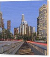 Los Angeles Downtown Night Scene Wood Print
