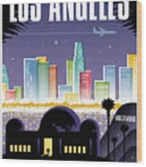 Los Angeles Poster - Retro Travel  Wood Print