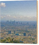Los Angeles Skyline Between Power Lines Wood Print