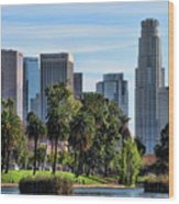 Los Angeles Skyline From Echo Park Wood Print