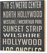 Los Angeles Vintage Places Poster Wood Print