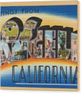Los Angeles Vintage Travel Postcard Restored Wood Print