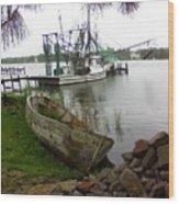 Lost Boat Wood Print