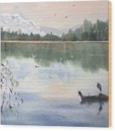 Lost Lagoon With Blue Heron Wood Print