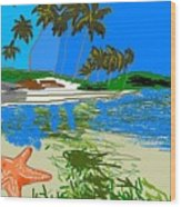 Lost Starfish On A Beach Wood Print
