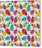 Lots Of Crayon Colored Ladybugs Wood Print