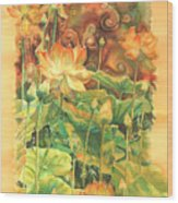 Lotus Field Wood Print