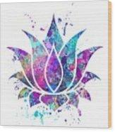 Lotus Flower Watercolor Print Wood Print