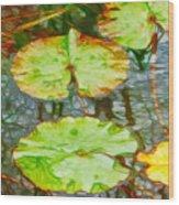 Lotus Flowers Leaves Wood Print