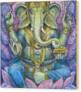 Lotus Ganesha Wood Print by Sue Halstenberg