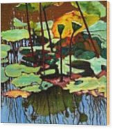 Lotus In July Wood Print by John Lautermilch