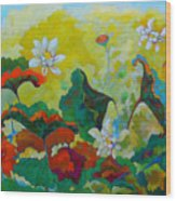 Lotus In The Fall Wood Print