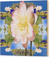 Lotus Mandala In Blue Wood Print