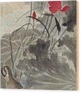Lotus Mandarin Duck Wood Print