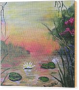 Lotus Pond Fantasy Wood Print
