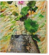 Lotus Tree In Big Jar Wood Print