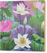 Lotus Trio Wood Print