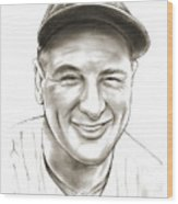 Lou Gehrig Wood Print