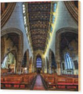 Loughborough Church - Nave Vertorama Wood Print
