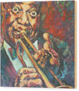 Louis Armstrong Wood Print by Tachi Pintor