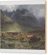Louis Bosworth Hurt 1856-1929 Highland Cattle In A Glen Wood Print