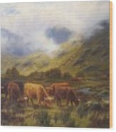 Louis Bosworth Hurt British 1856 - 1929 Highland Cattle Wood Print