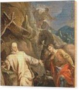 Louis Galloche - Saint Martin Sharing His Coat With A Beggar Wood Print