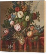 Louis Vidal, Still Life With Flowers And Fruit Wood Print