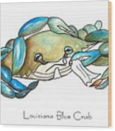 Louisiana Blue Crab Wood Print by Elaine Hodges