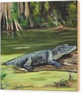 Louisiana Gator Wood Print