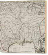 Map Of Louisiana And Of The River Mississippi Wood Print