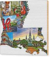 Louisiana Map - New Orleans Wood Print