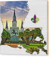 Louisiana Map - St Louis Cathedral Wood Print