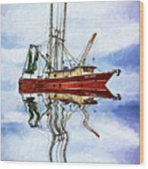 Louisiana Shrimp Boat 4 - Impasto Wood Print