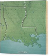 Louisiana State Usa 3d Render Topographic Map Border Wood Print