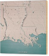 Louisiana State Usa 3d Render Topographic Map Neutral Border Wood Print