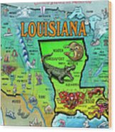 Louisiana Usa Cartoon Map Wood Print