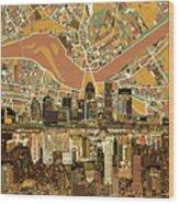 Louisville Kentucky Skyline Abstract 2 Wood Print