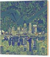Louisville Kentucky Skyline Abstract 6 Wood Print