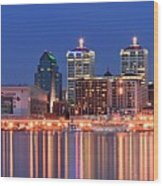 Louisville Panoramic At Blue Hour Wood Print
