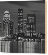 Louisville Skyline At Night 2 Wood Print