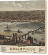 Louisville Vintage Map Wood Print